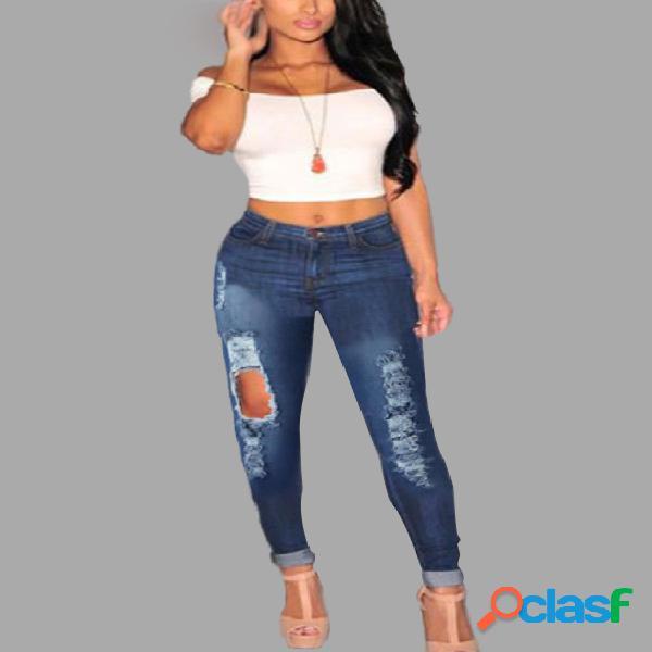 Moda de alta cintura cuatro bolsillos skinny shredded ripped jeans
