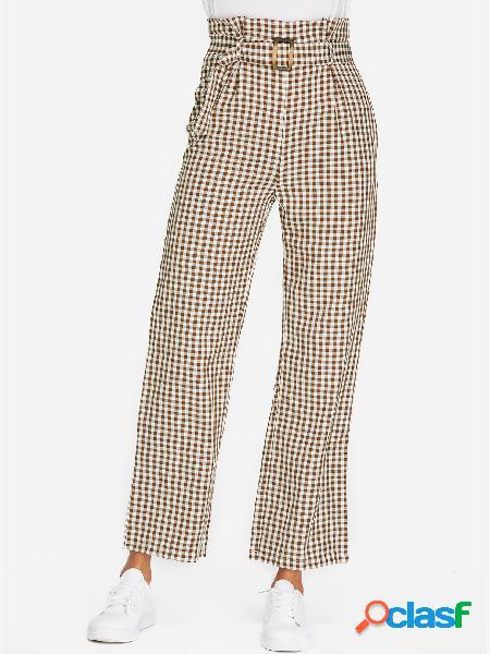 Khaki belt design grid pantalones de cintura alta