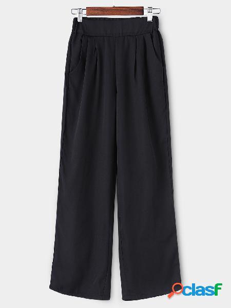 Pantalones de pierna ancha sueltos de cintura alta negro