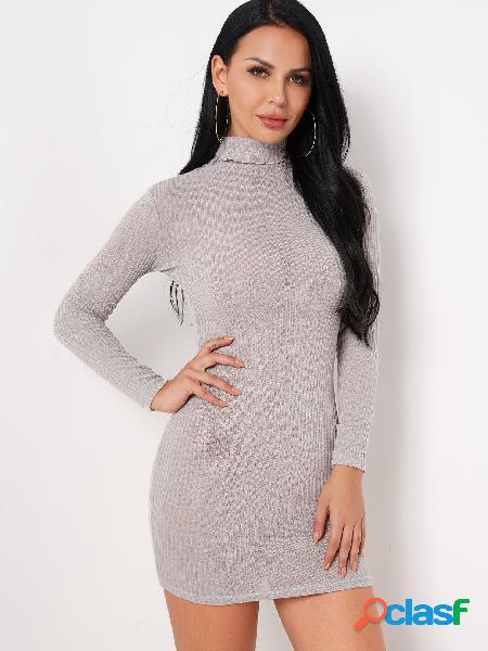 Cuello alto liso gris mangas largas vestidos ajustados de cintura ajustados
