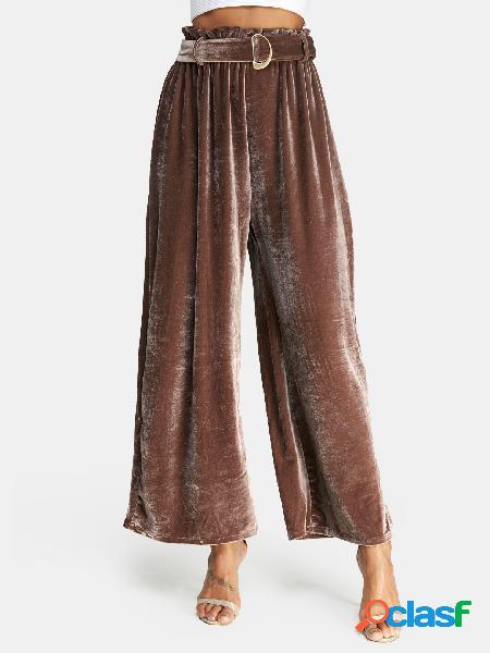 Pantalones de pierna ancha de cintura alta de diseño con cordones marrón