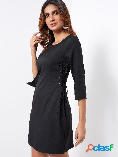 Negro con cordones de diseño liso cuello redondo limo en puños vestidos