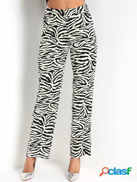 Pantalones anchos de cintura alta de cebra de pierna ancha
