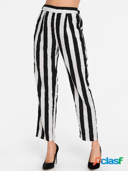 Raya bolsillos laterales pantalones de pierna recta de cintura alta