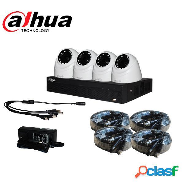 Dahua kit de vigilancia kitd720p-4104hs2 de 4 cámaras cctv domo y 4 canales, con grabadora, fuente de poder y accesorios