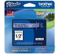 Cinta brother tze131 negro sobre claro, 12mm x 8m