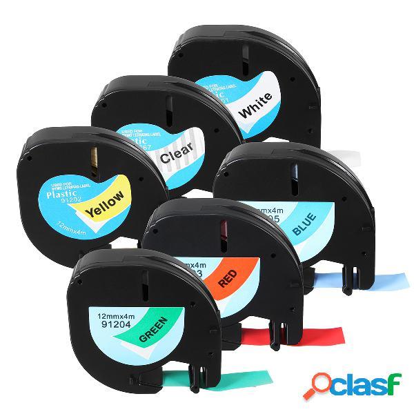 Lt 91201/91200/12267 label tape compatible para dymo letratag 12 mmx4m cassette