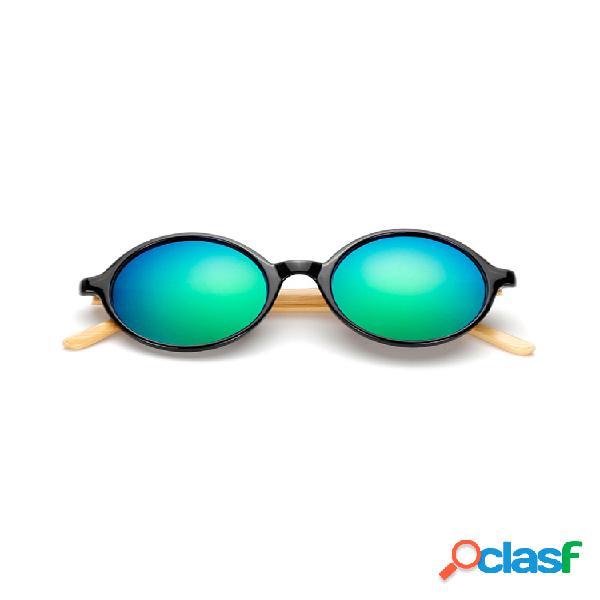 Gafas de sol de pierna de bambú hechas a mano puras redondas retro de moda gafas anti-uv gafas para hombres mujer