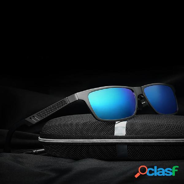 Hombre uv protección gafas de sol de aleación polarizadas conducción al aire libre anteojos