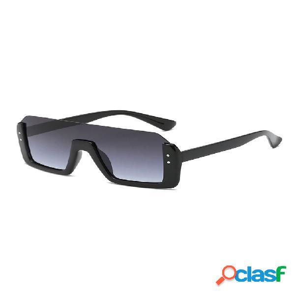 Unisex retro big caja gafas de sol cuadradas anti-uv, medio marco, remache, sombrilla, gafas de sol