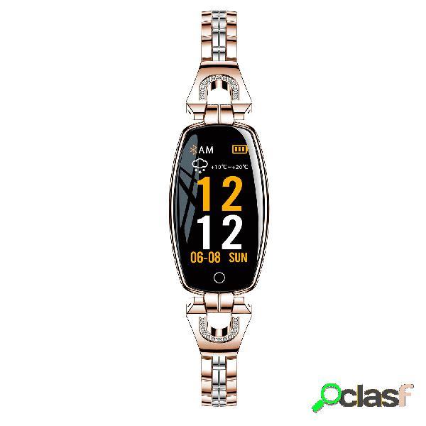Reloj pulsera elegante mujer reloj inteligente de pulsera de acero inoxidable con diamantes actividad monitor reloj de presión arterial hr