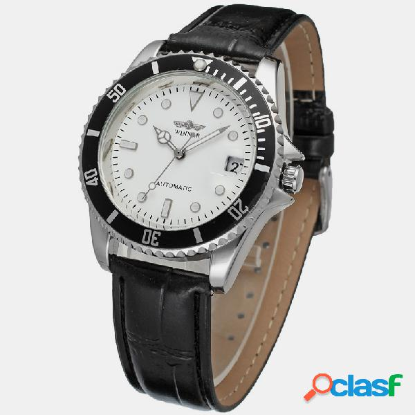 Leisure sports men watch cinturón negro blanco impermeable reloj automático completo mecánico