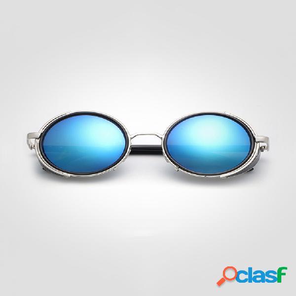 Mujeres hombres retro steam punk round uv gafas de sol de protección gafas de protección solar de viaje informal