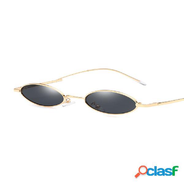 Mujer vendimia gafas de sol de moda ovaladas uv400 gafas de sol con montura metálica al aire libre viajes playa gafas de sol