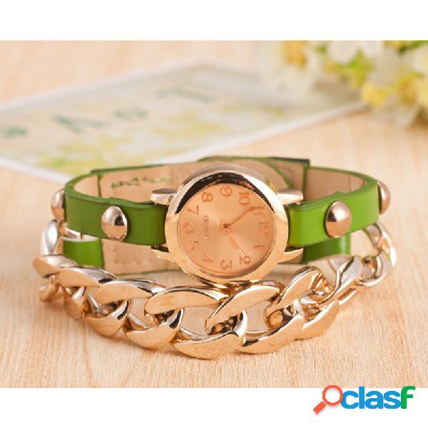 Moderno reloj de pulsera de cuerda de cuero de la pu de la aleación del reloj de la cintura estilo de moda mujer cuarzo wacth