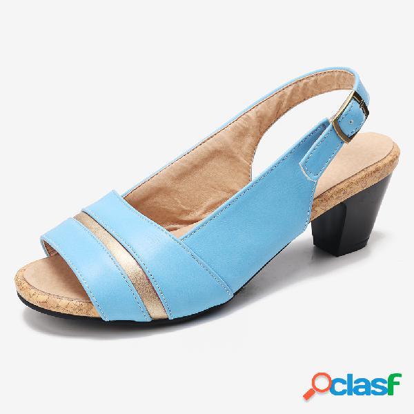 Plus tamaño mujer hebilla peep toe causal heel grueso sandalias