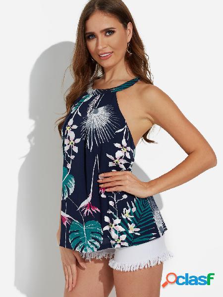 Chaleco sin mangas halter sin mangas con estampado floral al azar de diseño sin espalda azul marino
