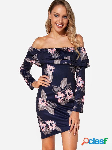 Estampado floral al azar con gradas azul marino con hombros descubiertos mangas largas vestido irregular