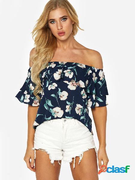 Diseño con gradas azul marino estampado floral aleatorio de la blusa del hombro