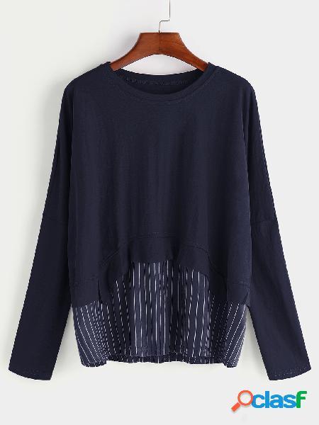Cuello redondo azul marino mangas largas remiendo dobladillo camisetas