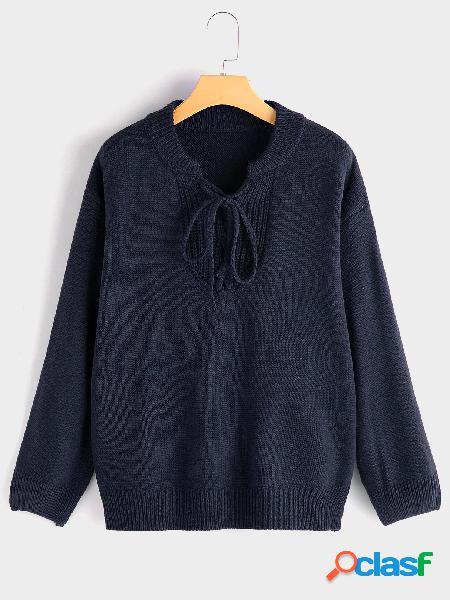 Jersey azul marino diseño de amarre manga larga suéter de punto
