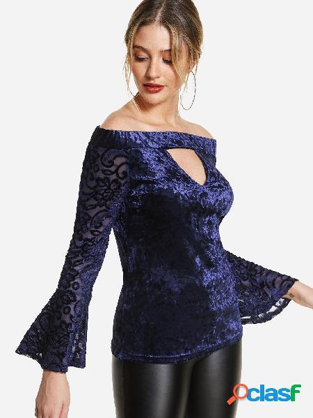 Blusa con hombros descubiertos en azul marino con hombros descubiertos