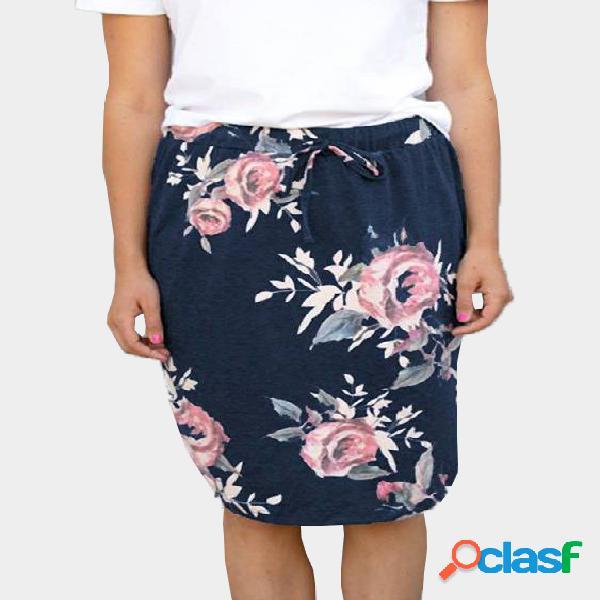 Azul marino alta subida al azar impresión floral medias faldas