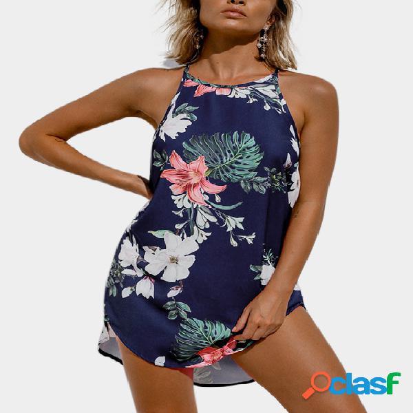 Vestido mini con hombros descubiertos y dobladillo curvo con estampado floral azul marino