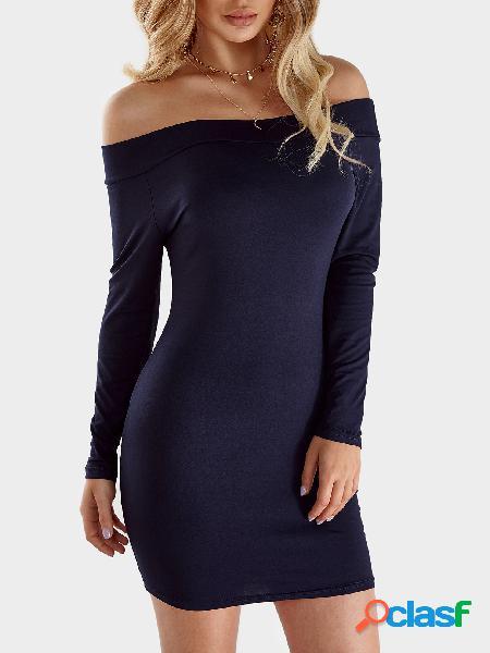 Azul marino bodycon fuera del hombro mini vestido de punto