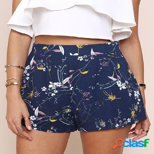 Pantalones cortos de cintura alta con cremallera estampado floral azul marino con bolsillos