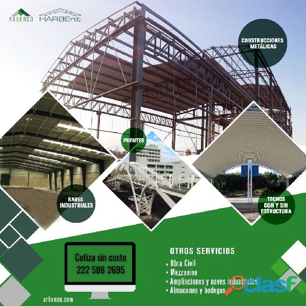 Construcción de estructuras metálicas, casas, centros comerciales, edificaciones, naves industriales