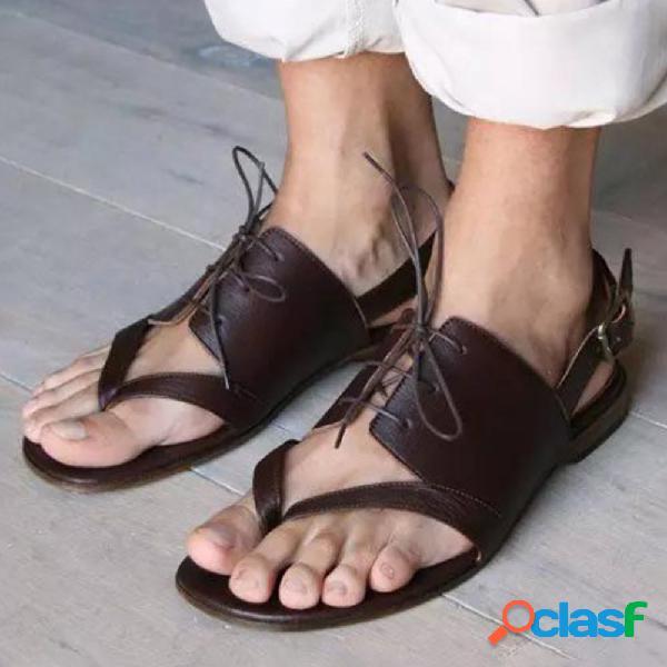 Plus tamaño mujer casual cómodo retro strappy clip toe hebilla correa slingback flat sandalias