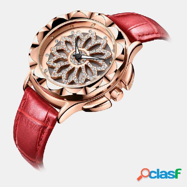 Reloj de mujer de moda de lujo con flor giratoria diseño dial de cuero banda reloj de cuarzo con cierre ajustable