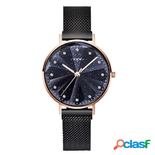 Estrella de cristal de lujo en forma de pétalo corte mujer reloj de cuarzo de acero de moda completa