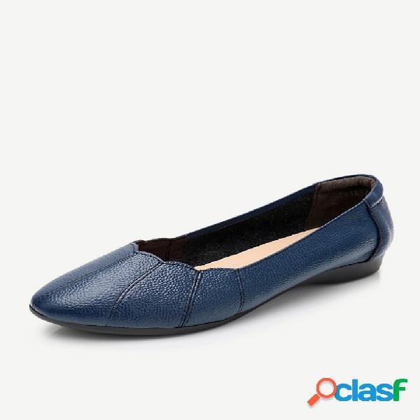 Mujer cómodo soft zapatos planos sin cordones de cuero de color sólido
