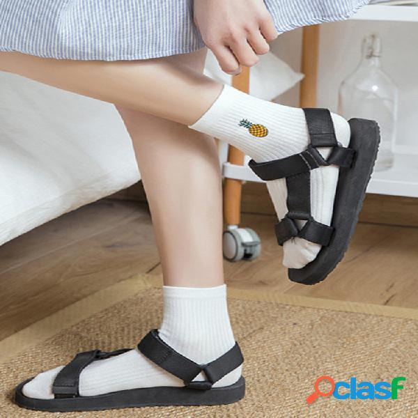 Calcetines de tubo medio con bordado de frutas bonitas para mujer calcetines cómodo algodón calcetines