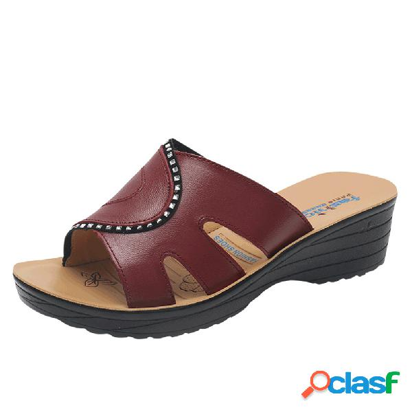 Mujer soft resbalón hueco de cuero cómodo en zapatillas