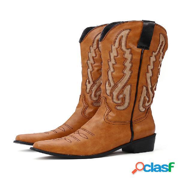 Mujer de gran tamaño elegante patrón cuero tacón grueso deslizamiento en media pantorrilla vaquero botas