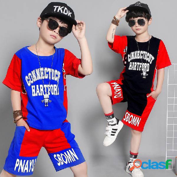 Pantalones cortos de manga corta para niños ropa deportiva informal para niños