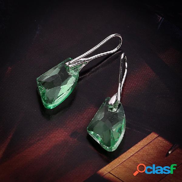 Elegante colgante de gema irregular pendientes moda colorful cristal plateado pendientes para mujer