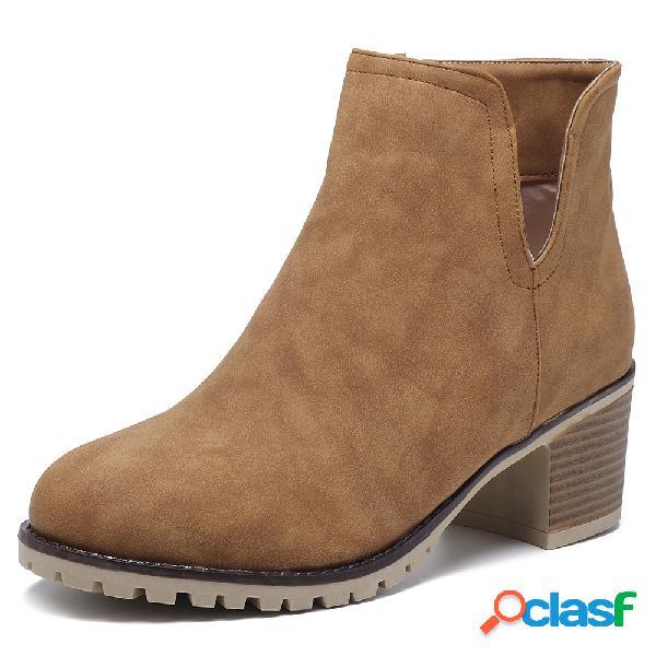 Plus talla mujer martin cómodo color sólido cremallera tacón grueso tobillo botas
