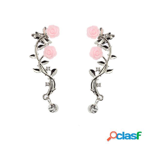 Elegante rosa brazalete para mujer con flores pendientes clip de piercing de color dorado plateado a la moda pendientes