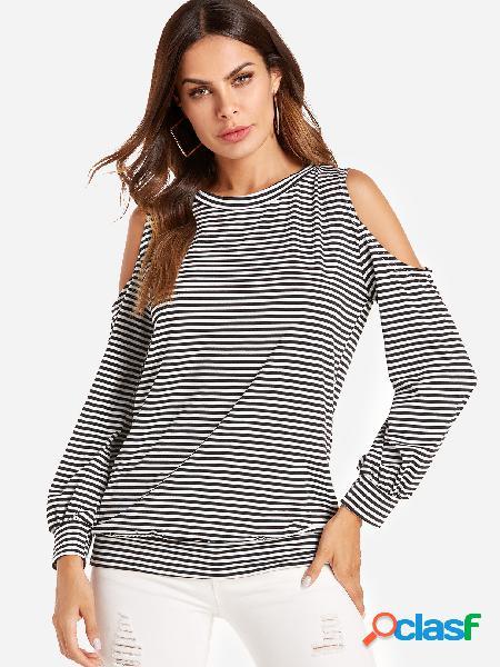 Stripe hombro frío camiseta de manga larga