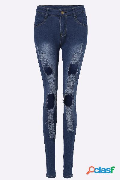 Azul oscuro de cintura alta elástica ripped jean