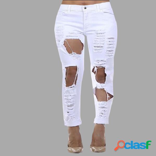Blanco boyfriend denim alta cintura desmenuzado rips jeans
