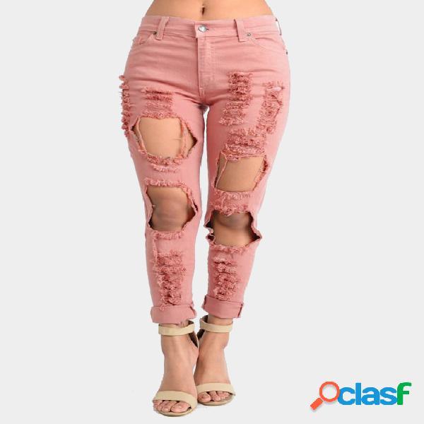 Pink boyfriend denim alta cintura desmenuzado rips jeans