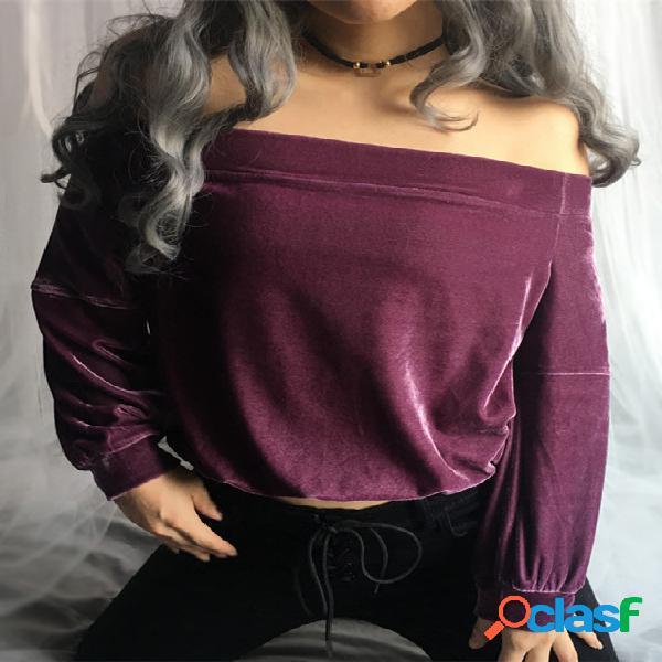 Blusa de cintura alta violeta plisada de manga larga