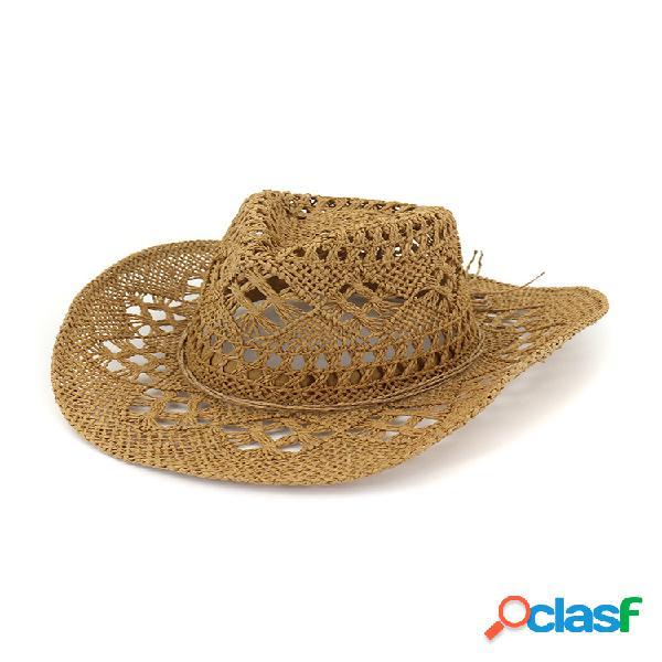 Paja exquisita transpirable hueca de verano para mujer sombrero al aire libre gorra de viaje sun jazz