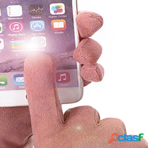 Mujer invierno gamuza cálida guantes pantalla táctil simple sólida a prueba de viento dedo completo guantes
