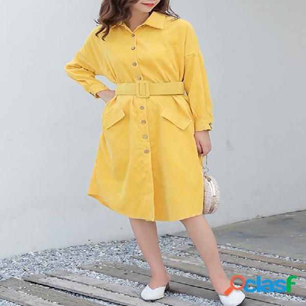 Aline vestido corduroy casual sólido elegante para mujer vestido